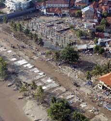 An aerial view from an aircraft of the tsunami-hit Pangandaran beach
